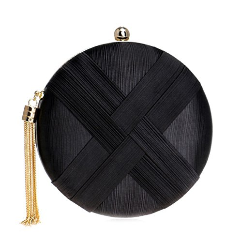 Flada and Handbags Black Ladies Women Wedding with Clutches bags Round Tassel Evening Pendant Satin rrpRaBq