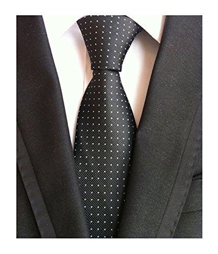 Dots Necktie Black Mens (Men's Black and White Jacquard Woven Silk Tie Textured Slim Cut Working Neckties)
