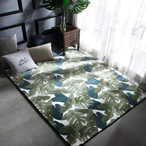 YJBear Modern European Style Green Leaf Print Floor Mat Coral Fleece Home Decor Carpet Large Indoor Outdoor Area Rug Rectangle Doormat Kitchen Floor Runner 47.2