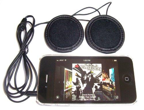 KOKKIA H10_black (Cable NEGRO) Auriculares estéreo para casco deportivo/ motocicleta. Puede utilizarse con iPod, iPhone, iPad, MP3, CD o cualquier ...