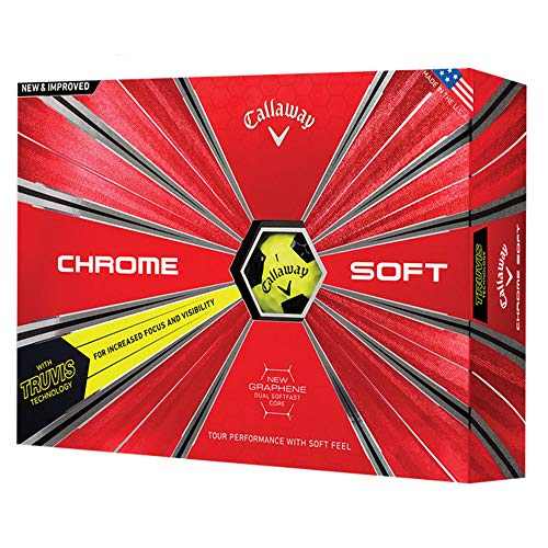Callaway 2018 Chrome Soft Golf Balls (One Dozen), Yellow/ Black Truvis