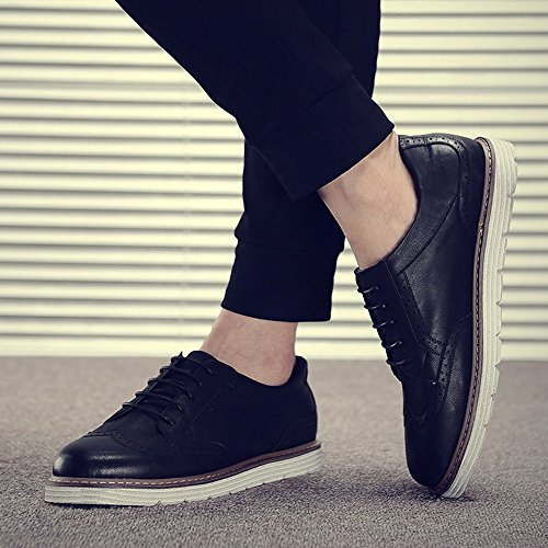 2 EU39 Bottom and Shoes Colours Size CN39 Leisure Spring Autumn Thick Feifei Black Retro Men's Leather UK6 Color Shoes fYPwatqxw