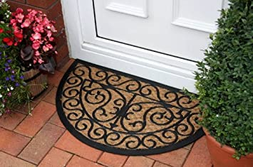 New Natural Coir Rubber Semi Circle Patterned Doormat 45x75cm