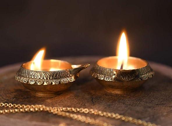 KUBER Diya. Pure Virgin Brass Diwali Puja Diya. Indian Pooja Oil Lamp Dia. 2.5 Inch Deepawali Diya Oil Lamp CandleTea Light Holder Diwal Christmas Decoration 50PC . Indian Gift Items