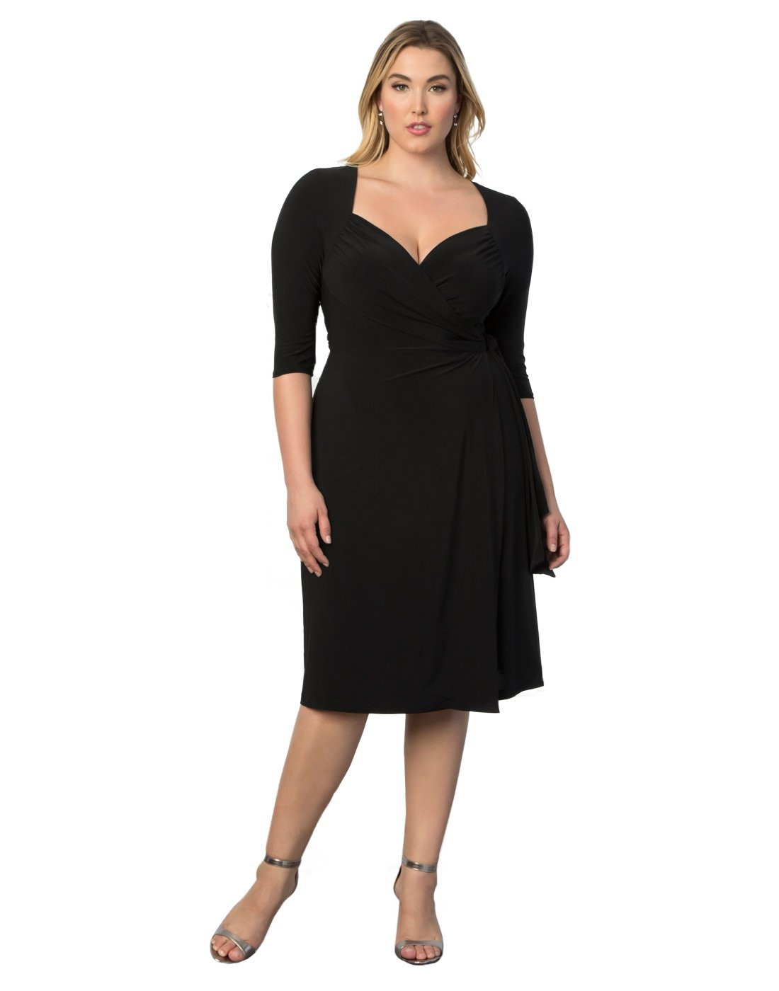 Kiyonna Women's Plus Size Sweetheart Knit Wrap Dress 3x Black Noir