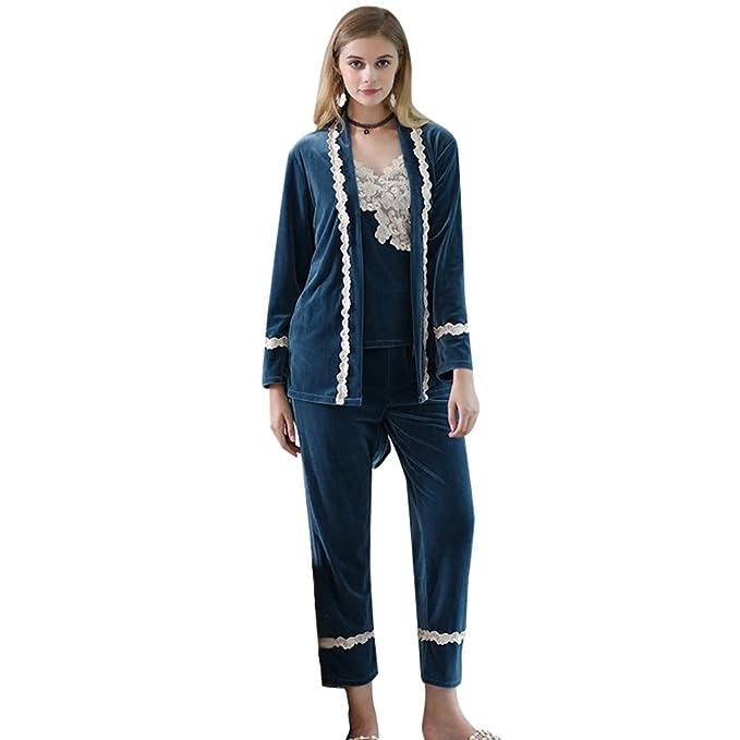 YiLianDa Pijamas Mujer Set Camisones Mujer de Mangas y Pantalones Largos Azul XL