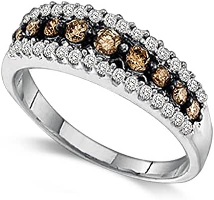 Ladies 0.50CT Round Cognac & Clear Diamond 10K White Gold Channel Band