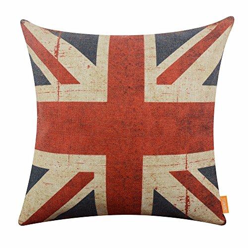 (LINKWELL 18x18 inches Retro Union Jack Burlap Throw Cushion Cover Pillowcase)
