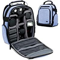 USA Gear Digital Camera Backpack (Blue) with Customizable Accessory Dividers, Weather Resistant Bottom, Comfortable Back Support for Canon EOS T5 / T6 - Nikon D3300 / D3400 and More SLRs!