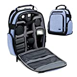 Portable Camera Backpack for DSLR / SLR (Blue) by USA Gear with Customizable Accessory Dividers, Weather Resistant Bottom, Comfortable Back Support for Canon EOS T5 / T6 - Nikon D3300 / D3400 and More