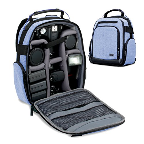 Portable Camera Backpack for DSLR / SLR (Blue) by USA Gear with Customizable Accessory Dividers, Weather Resistant Bottom, Comfortable Back Support for Canon EOS T5 / T6 – Nikon D3300 / D3400 and More