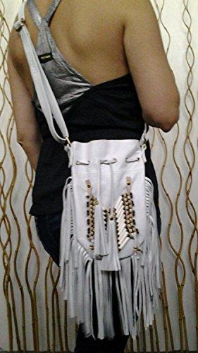 N45P- Borsa in pelle bianca indiana, borsa in stile americano. Borsa Crossbody