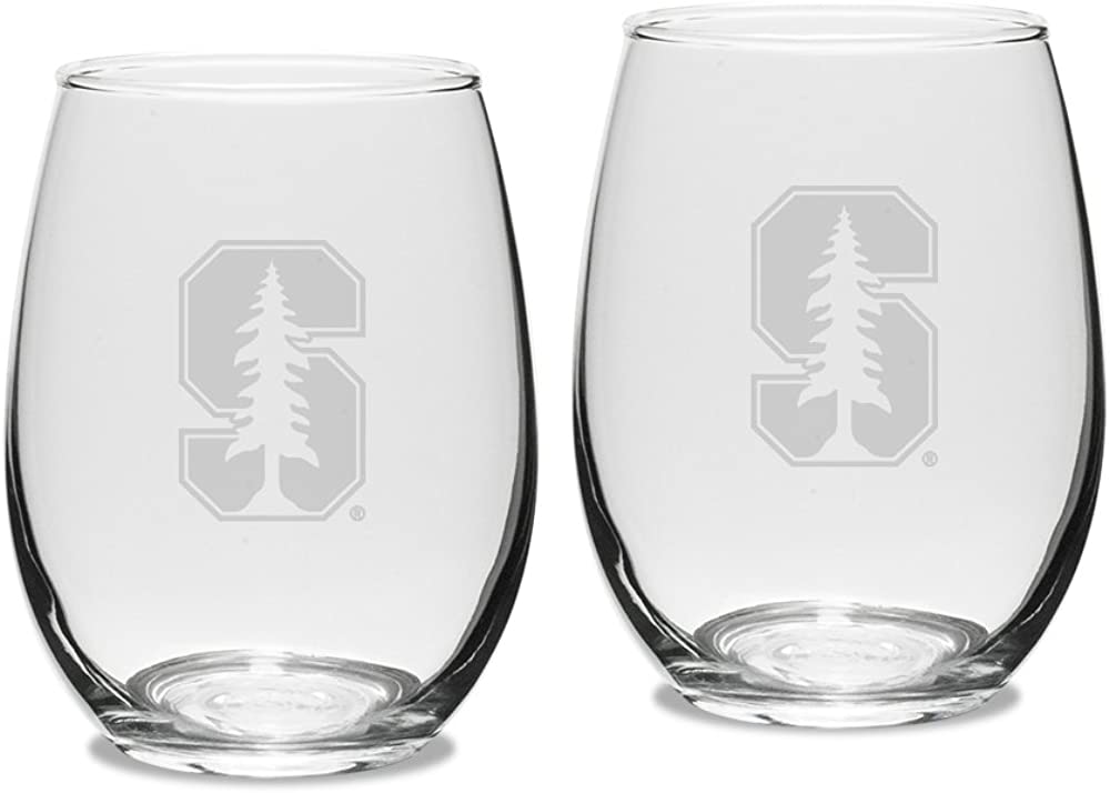 University Glass NCAA unisex-adult Set of 2 - 15 oz Stemless Wine Glass Deep Etched Engraved
