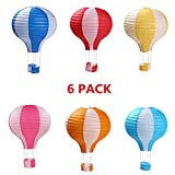 HONG LIN 6Pack 12inch Hanging Hot Air Balloon Paper Lanterns Set for Home Party Wedding Birthday Christmas Decoration Gift Supplies