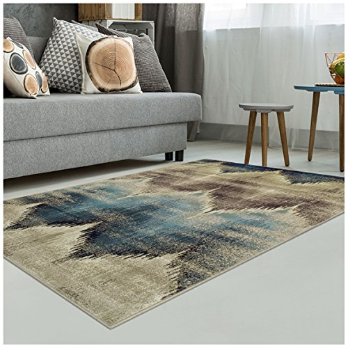Superior Area Rug 2' x 3' 10mm Pile Height with Jute Backing, Woven Fashionable and Affordable Cadwell Collection, Beige ()