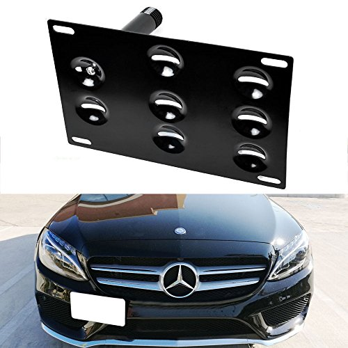 iJDMTOY Euro Style Front Bumper Tow Hole Adapter License Plate Mounting Bracket For Mercedes Benz (W205 C-Class (Sedan and Coupe), X204 GLK-Class, X205 GLC-Class)