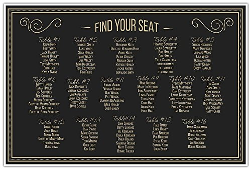 Retro Vintage Black and Gold Leaf Wedding Seating Chart Sign Table Reception Seats
