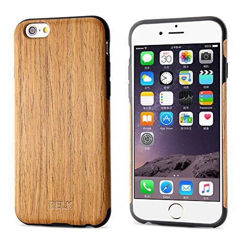 iPhone 6S Case, iPhone 6 Case, BELK [Air To Beat] [Slim Matte] Non Slip Wood Tactile Extra Grip Rubber Bumper [Extremely Light] Soft Wood Back Cover, Fingerprint Free Flex TPU Case, Oak - Oak Finish Gel