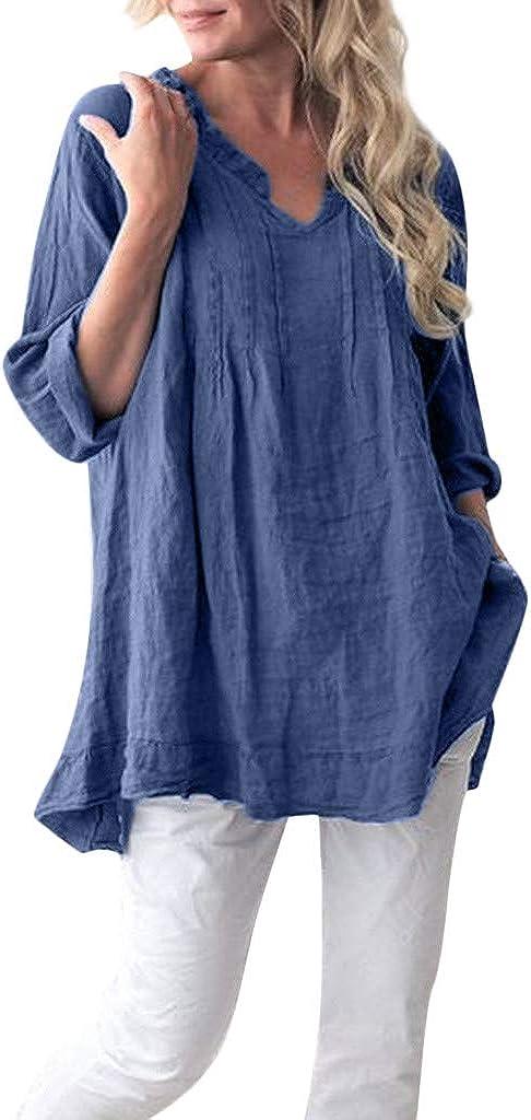 TUDUZ Casual Blouse Plage Chemise Femmes Chemise Grande Taille Manches Longue Col Rond Tunique Tops T Shirt Blouse en Coton Lin Louse Femme Manches 3//4
