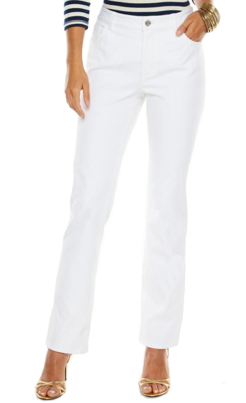Chaps Women's Slimming Fit Twill Straight Leg Pants, White (4 Regular)