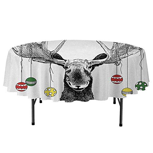 - DouglasHill Moose Printed Round Tablecloth Christmas Moose with Xmas Ornaments Balls Hanging from Horns Funny Noel Sketch Art Desktop Protection pad D70 Inch Multicolor
