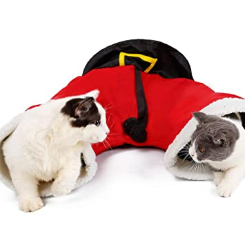 XDYFF Túnel para Gatos Plegable Papá Noel De Navidad Mascotas Gato Túnel Plegable Juego De 3 Vías Juguete Interative Tube Juguetes Divertidos para Gatos ...