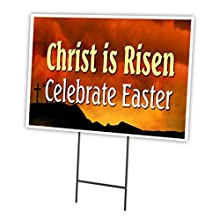 "Christ is Risen Celebrate Easter 18""x24"" Yard Sign & Stake Outdoor Plastic"