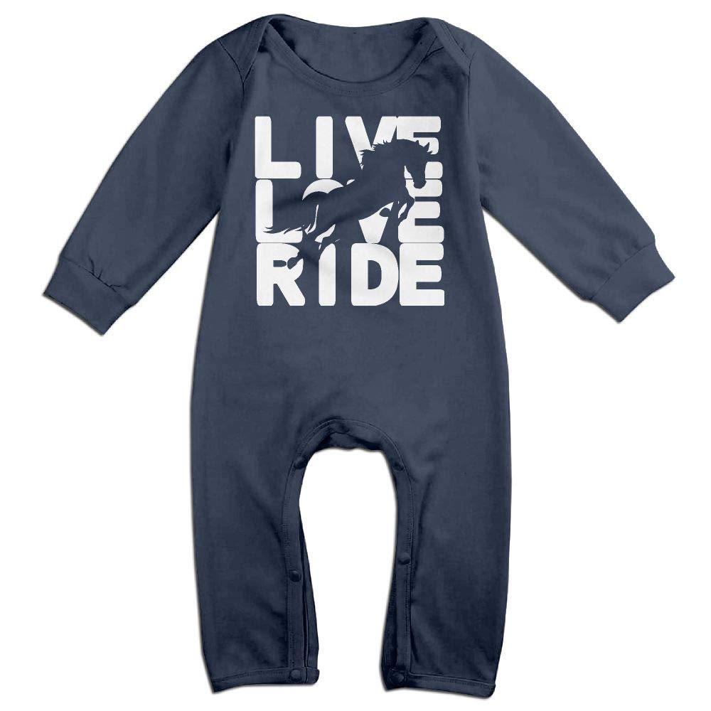 Baby Girls Bodysuits Live Love Ride Horse 4-1 Infant Long Sleeve Romper Jumpsuit