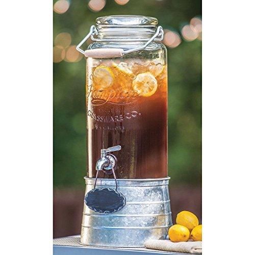 FarmStand 2.5 Gallon Glass Beverage Dispenser with Galvanized Steel Frame Vintage