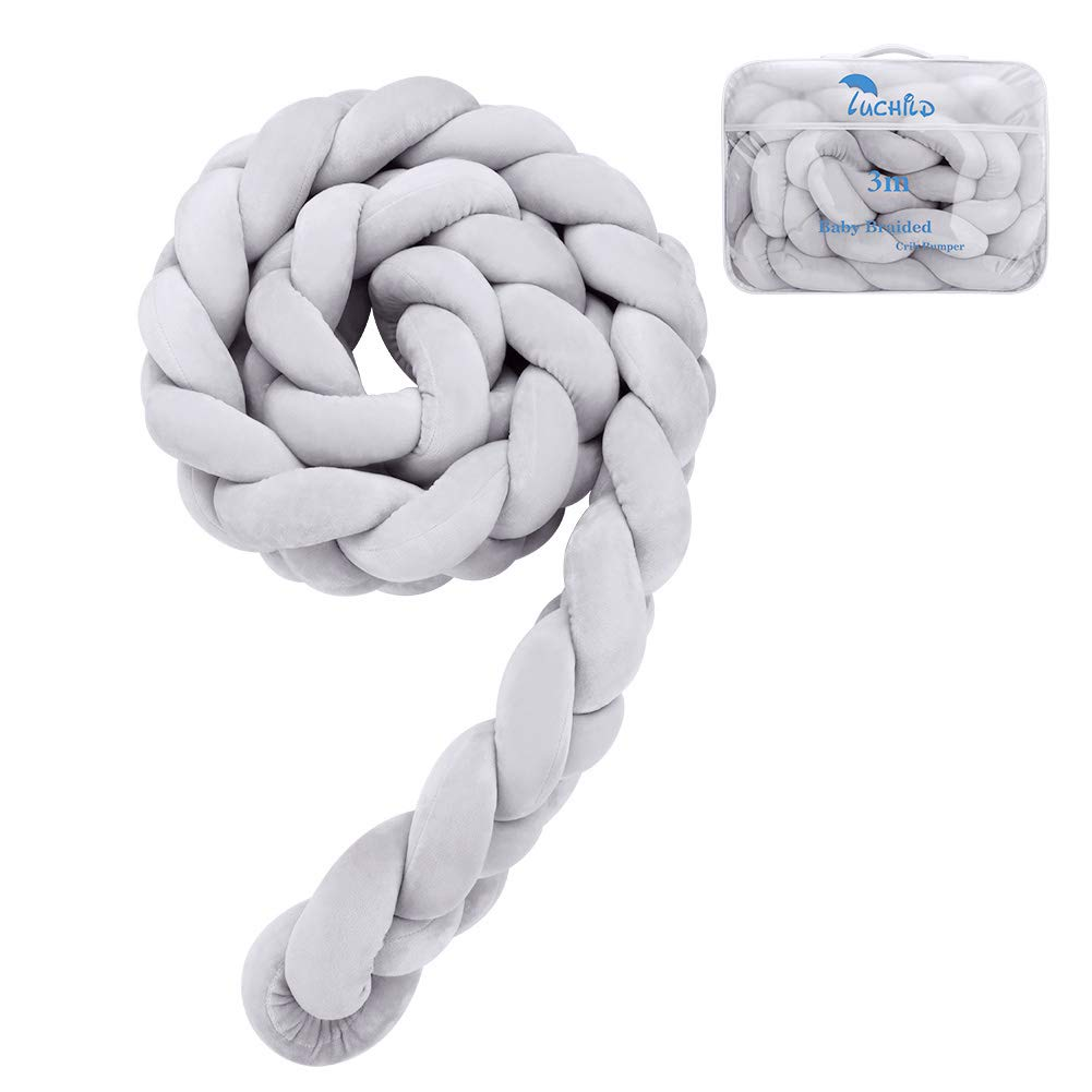 2.2m Gray Luchild Braided Crib Bumper Baby Crib Bumper Knotted Braided Plush Nursery for Newborns Bed Sleep Bumper