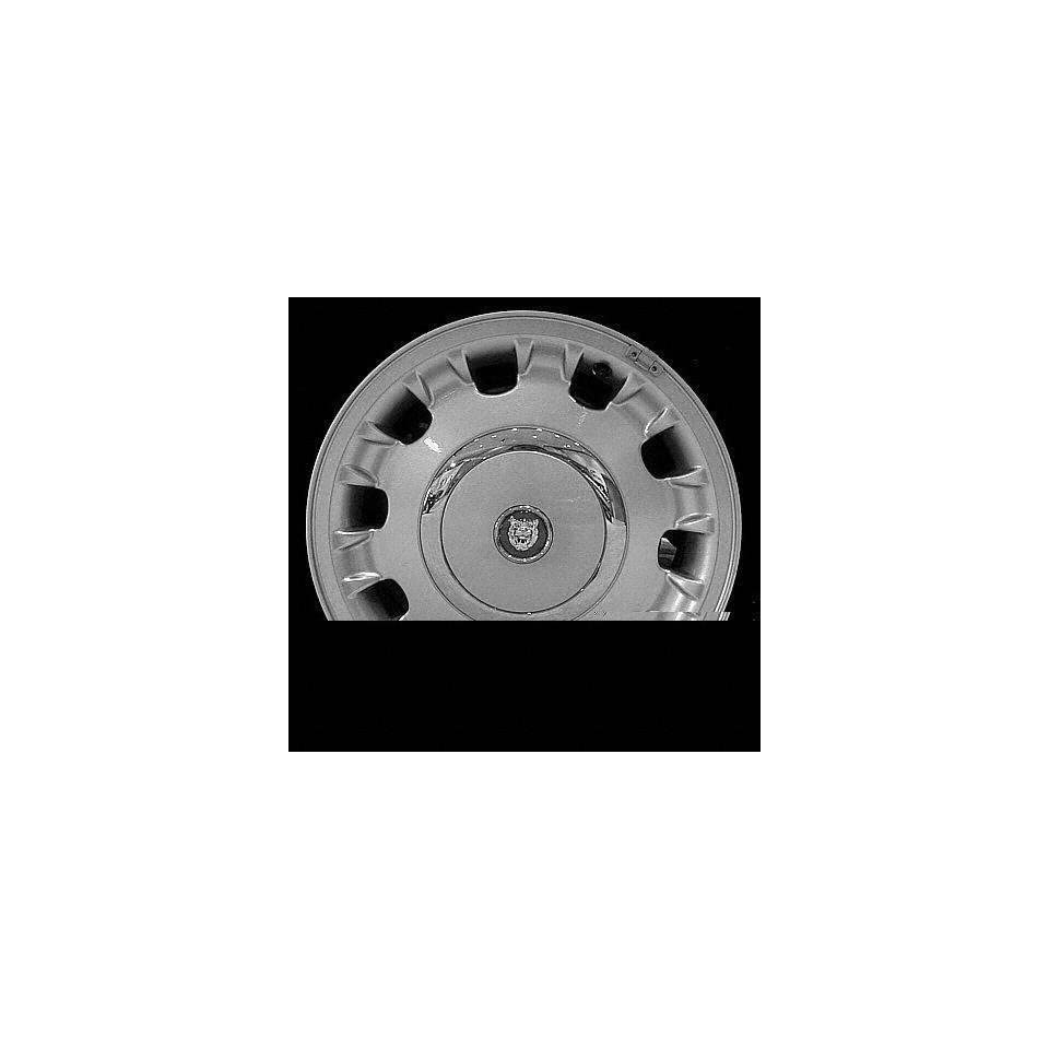 98 99 JAGUAR XJ8 x j8 series ALLOY WHEEL RIM 16 INCH, Diameter 16, Width 7 (ALLOY WHEEL), 10 raised edge spoke designwith large chrome center cap type (center not included); w/o exposed lug nuits, SIL