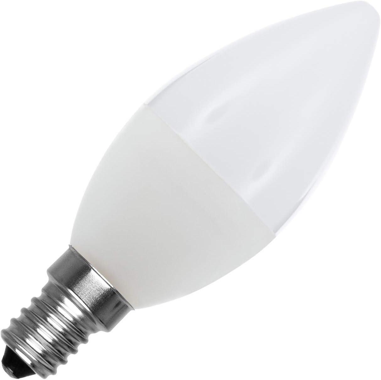 Bombilla LED E14 Casquillo Fino C37 5W Blanco Frío 6000K - 6500K