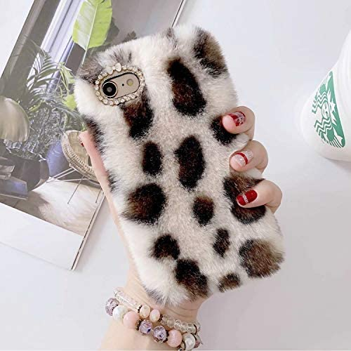 Miagon Pelz Hülle für Samsung Galaxy A11/M11,Glitzer Leopardenmuster Weich Warm Kunstpelz Plüsch Fluffy Flexibel Schutz Handytasche Case Cover,Weiß Braun