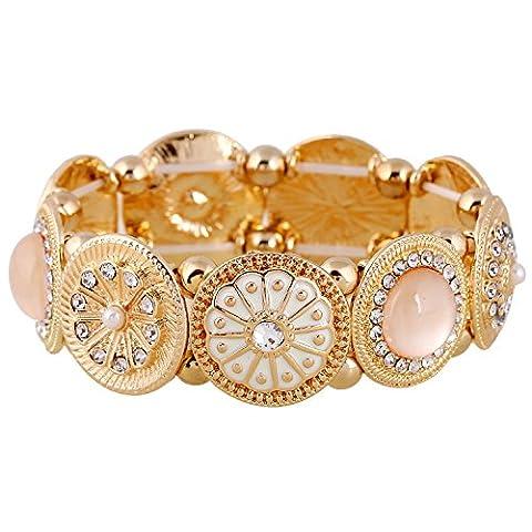 D EXCEED Handmade Etched Stretch Enamel Flower Crystal Rhinestone Gold Bracelet - Floral Etched Crystal