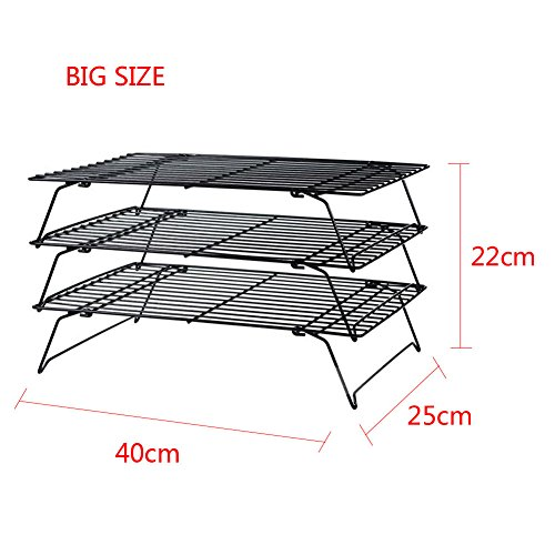 MIJORA-3 Tier Baking Wire Cooling Rack Kitchen Fried Chips Bakery Biscuit Stand Folding(size:large)