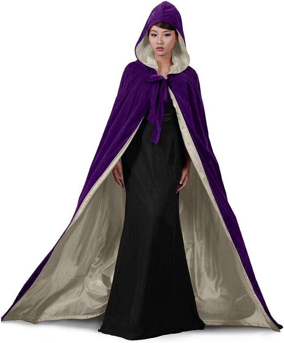 SHENLINQIJ Velvet Hooded Renaissance Halloween Cloak Medieval Cape Lined with Satin
