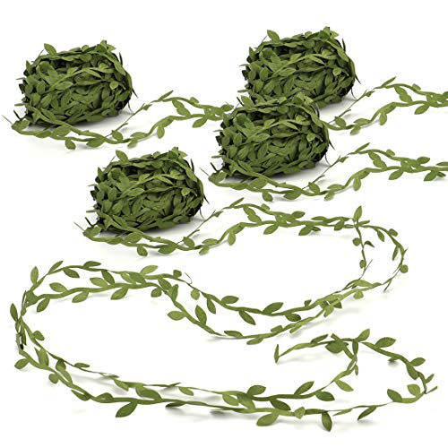 Green Flower Trim - Tosnail 4 Roll Total 87.5 Yard Olive Green Leaves Leaf Trim Ribbon Artificial Vines Leaf Garland - Great for DIY Craft Gift Wrapping Party Wedding Home Decoration