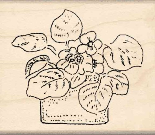 Flower Pot Rubber Stamp – 1-3/4 inches x 2 (Greeting Flower Pot)