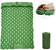 GeeMart Camping Air Mattress with Pillow for 2 Person - Upgraded Foot Press Inflatable Camping Pads - Camping