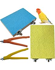 PINVNBY Parrot Perch Stand Platform Natural Wooden Bird Perch Toys Paw Grinding Stick Exercise Climbing Cage Accessories for Parakeet, Conure, Cockatiel, Budgie, Lovebirds (4Pack)