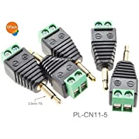 CablesOnline 5-Pack 3.5mm (1/8) Mono Male Plug to AV 2-Screw Terminal Block Balun Connector, PL-CN11-5