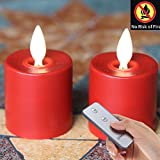 Remote Included Moving Flame Wick Lumina Tea Lights, 1.52.5 INCH with Timer ...
