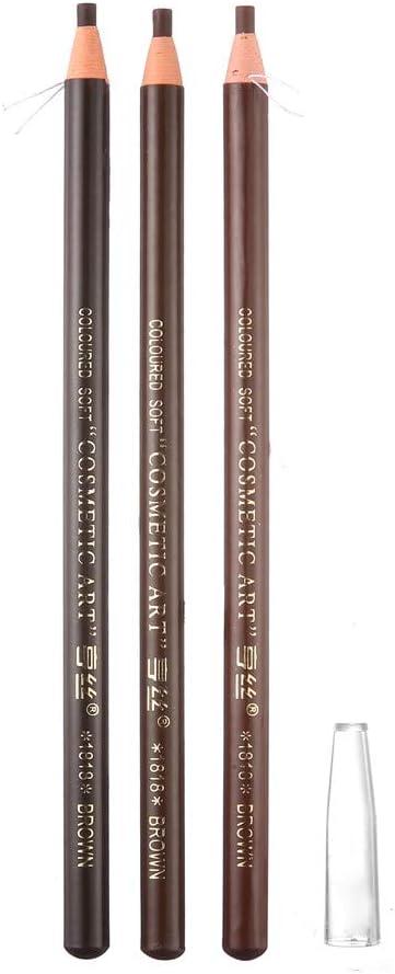 portátil impermeable lápiz de cejas para microblading Peel Off cuerda de tracción (3 piezas Marrón, Marrón oscuro, Marrón claro)