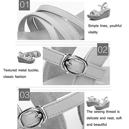 7cm Size KaiGangHome sandales talons talons avec chaussures Pente 38 Color sauvages Blanc avec blanc d'étudiant des Escarpins Blanc à à hauteur sandales d'été rwqaRx7Xr