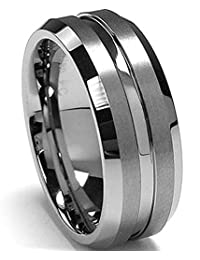 8MM High Polish/Matte Finish Men's Tungsten Ring Wedding Band Sizes 6 to 15