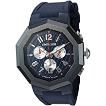Roberto Cavalli by Franck Muller Men's 'OCTAGON' Quartz Stainless Steel and Rubber Casual Watch, Color:Blue (Model: RV1G009P0026)