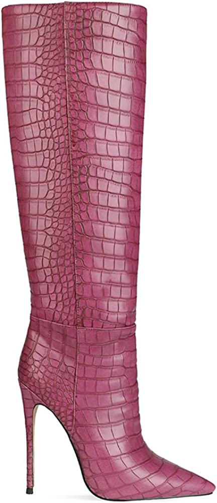 Lydee Moda Stivali Alti 7 Rosso