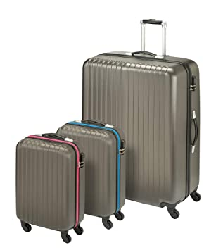 Princess Traveller San Marino 3-in-1 Luggage Set Juego de Maletas, 82 cm, 198 Liters, Gris (Anthracite): Amazon.es: Equipaje