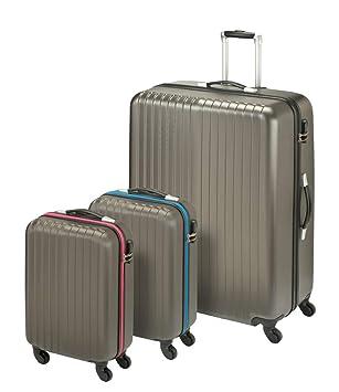 Princess Traveller San Marino 3-in-1 Luggage Set Juego de Maletas, 82 cm, 198 Liters, Gris (Anthracite): Amazon.es: Equipaje