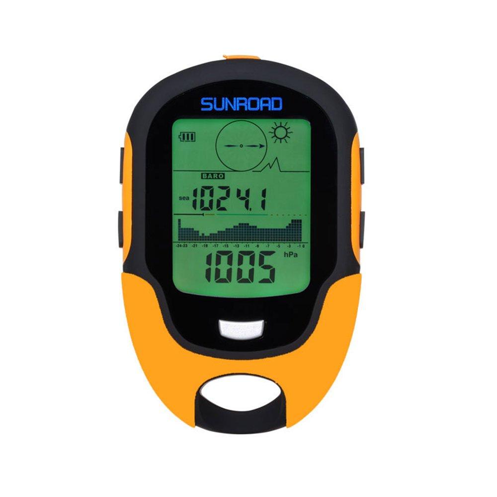 SUNROAD Anself fr500 multifunción LCD Digital altímetro barómetro brújula termómetro higrómetro Previsión meteorológica LED Linterna, Naranja, One Size